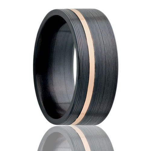 Flat Zirconium Band with Rose Gold Inlay