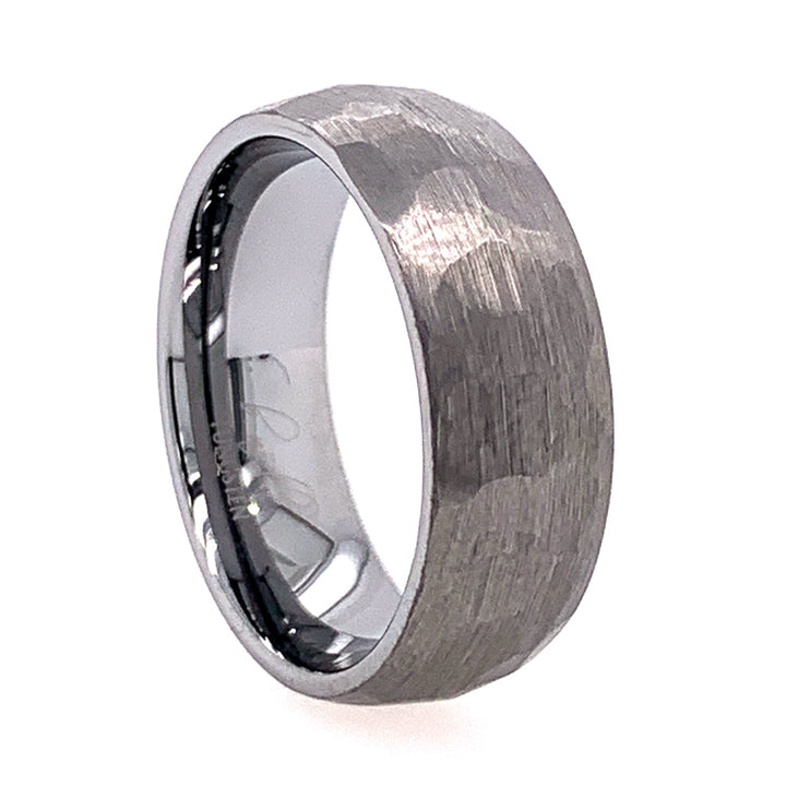 Domed Tungsten Hammered Band