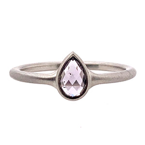 Lavender Pear-Shaped Rose-Cut Montana Sapphire Ring