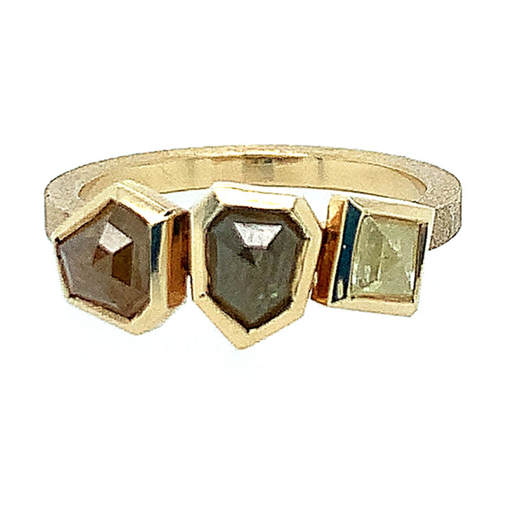 18K brushed yellow gold, set with 3 asymmetrical  colored rustic rose-cut diamonds. (1.95ctw)