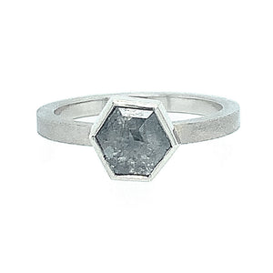 Salt and Pepper, hexagon-shaped diamond, solitaire brushed  18 karat white gold, ring.