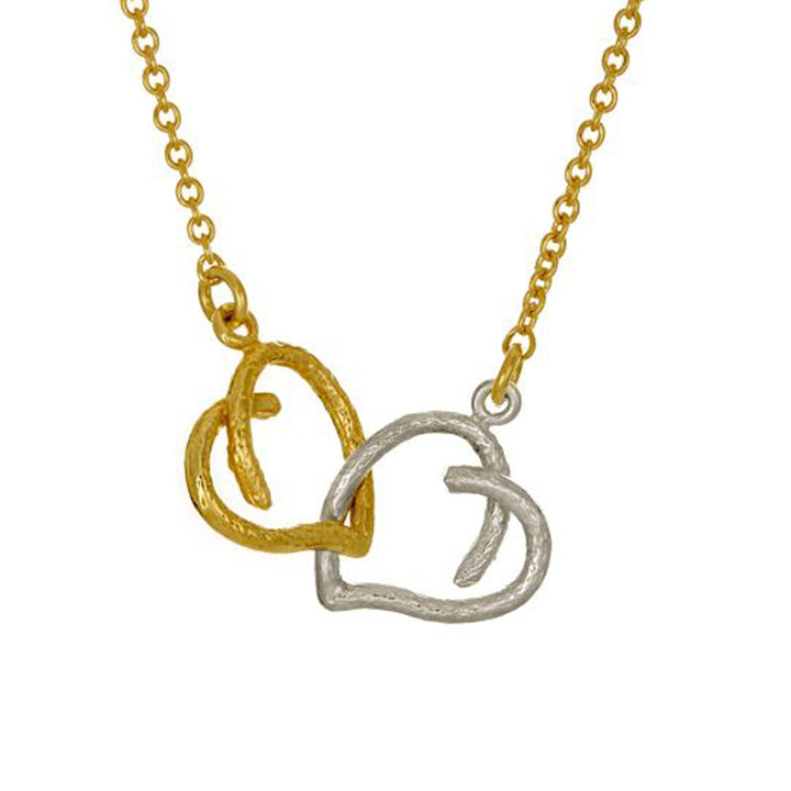 With two hearts, (one sterling silver and one gold vermeil),