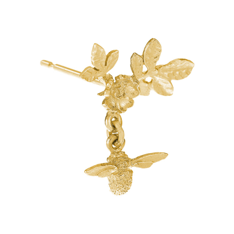 Gold Flower Bumblee Earrings by Alex Monroe