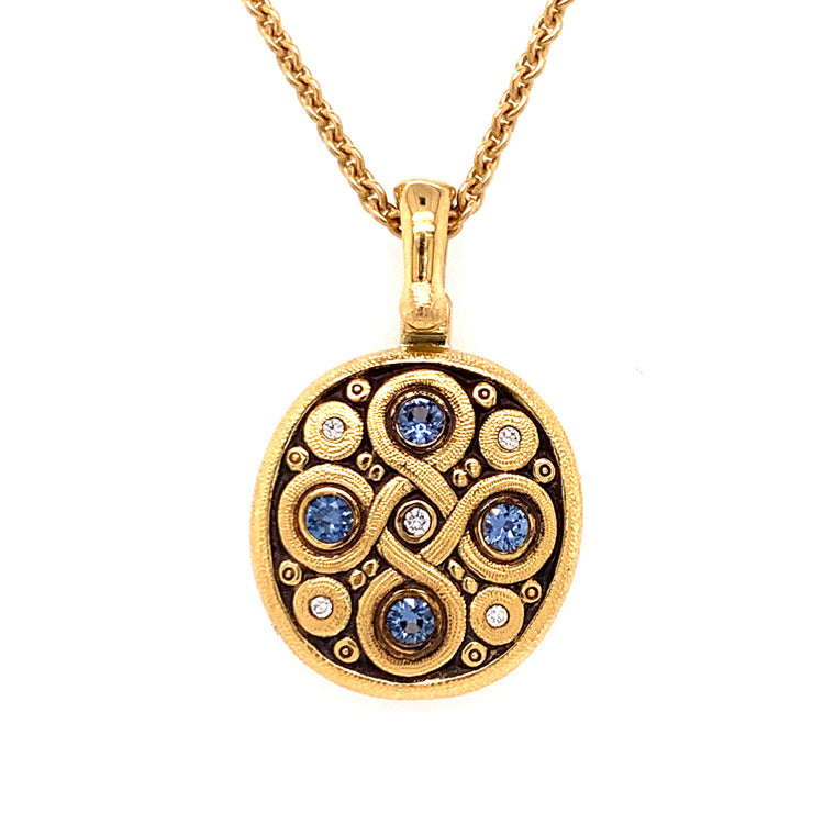 Celtic Spring Knot Pendant with Sapphires and Diamonds by Alex Sepkus