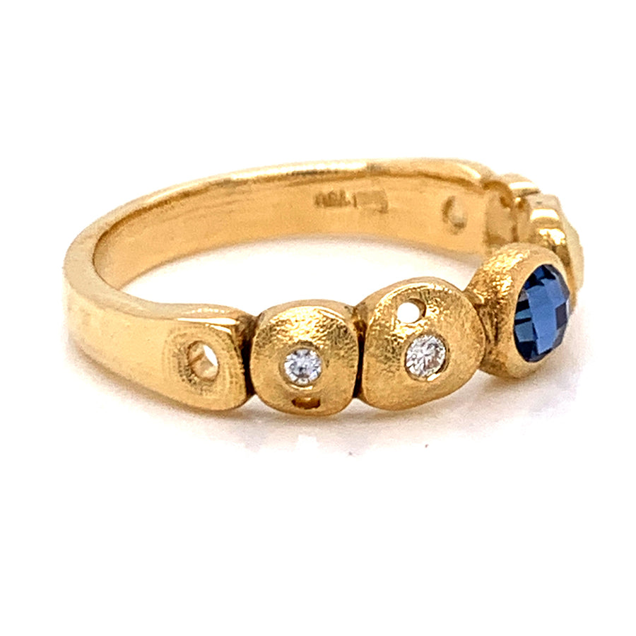 """Perelandra"" Ring with Rose-Cut Yogo Sapphire"