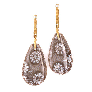 Bunga Coral and Diamond Earrings by Alex Sepkus