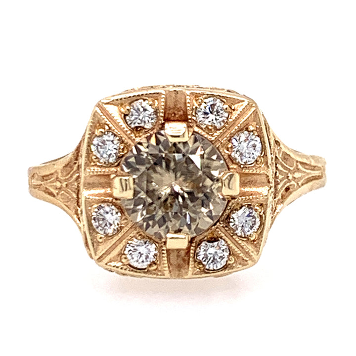 Champagne Zircon & Diamond Halo Ring in Yellow Gold