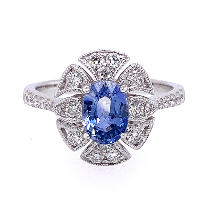 """The Wiltern"" Montana Sapphire & Diamond Ring"