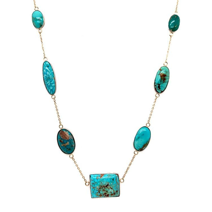 """Modern Squashblossom"" Turquoise Station Necklace"
