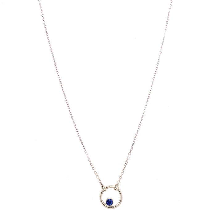 Yogo Sapphire 'Petite Circle' Necklace in White Gold