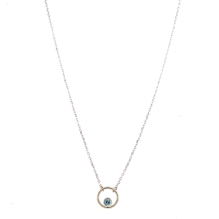 Light Blue Montana Sapphire 'Petite Circle' Necklace in White Gold