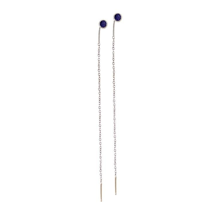 White Gold Yogo Sapphire Threader Earrings