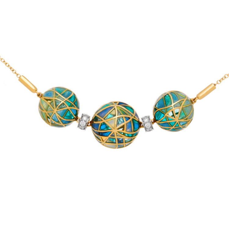 Yellow Gold and  Fired Enamel Orb Necklace with Diamonds
