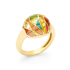 Yellow Gold & Fired Enamel Orb Dome Ring by Baques Barcelona