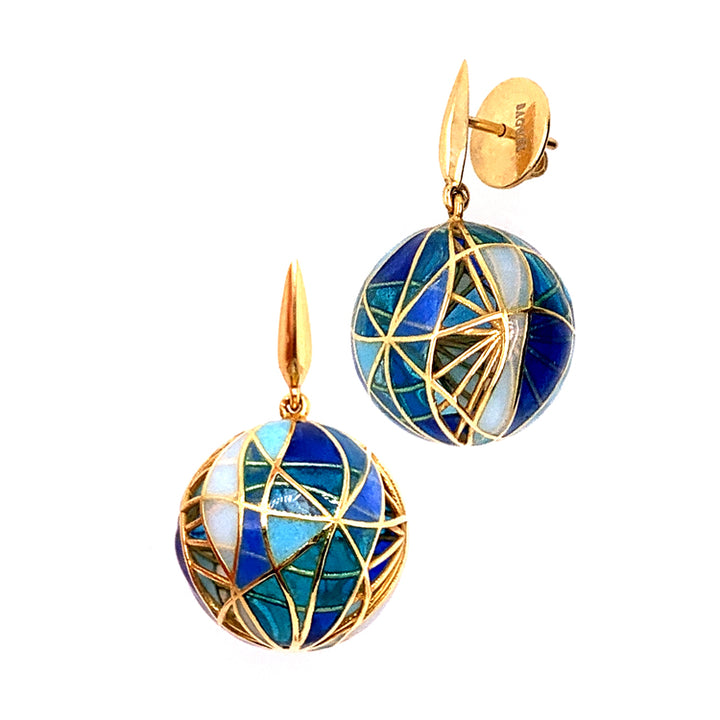 """Blue Barcelona"" Orb Earrings"
