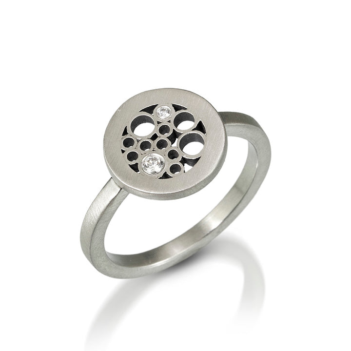 Brushed sterling silver and diamond modern ring by Belle Brooke