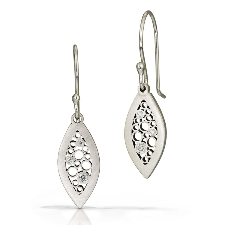 Satin sterling silver and diamond leaf earrings by Belle Brooke
