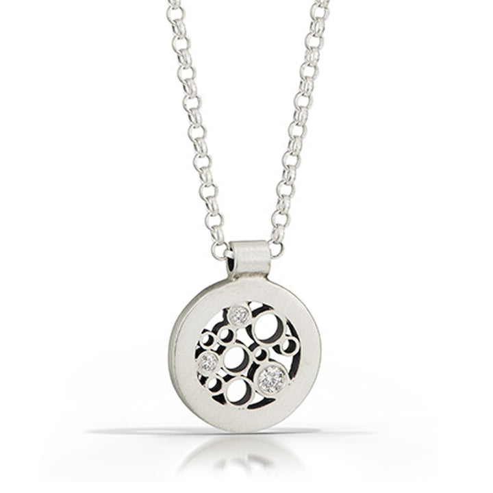 Brushed sterling silver and diamond modern circle pendant necklace