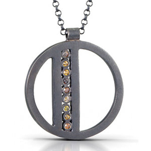 Matte Black Sterling Silver Necklace with Natural Diamonds