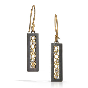 Matte black silver and yellow gold tall rectangle earrings with white diamonds by Belle Brooke