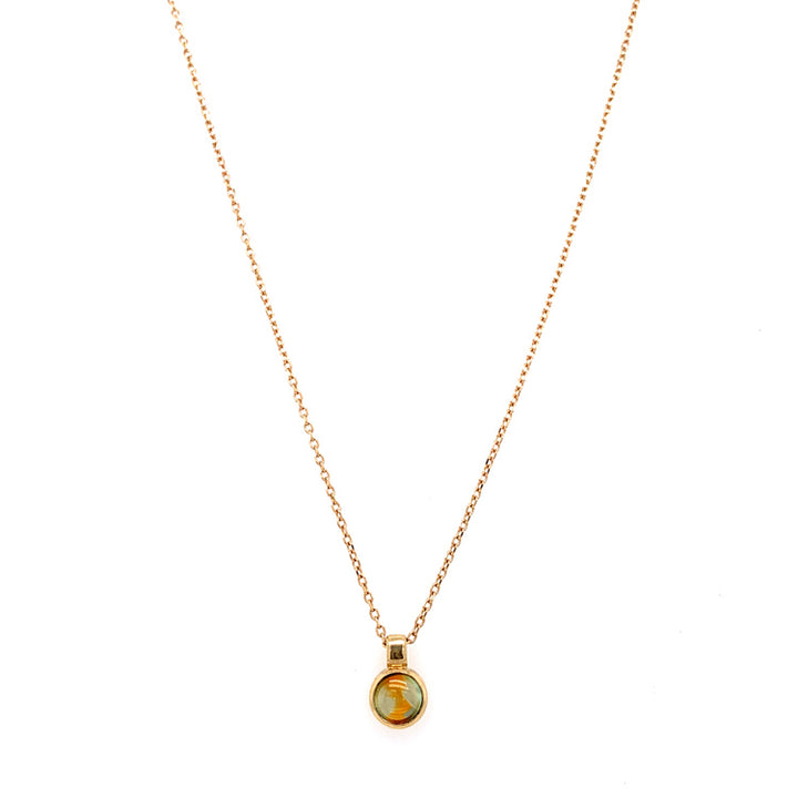 Bi-Color Green Orange Cabochon Montana Sapphire Pendant in Yellow Gold