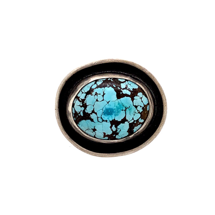 Hubei turquoise and sterling silver ring by Ciara Easterling