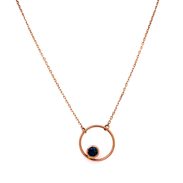 "Montana Sapphire ""Circle"" Necklace in Rose Gold"