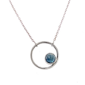 "Blue Rose-Cut Montana Sapphire ""Circle"" Necklace in White Gold"