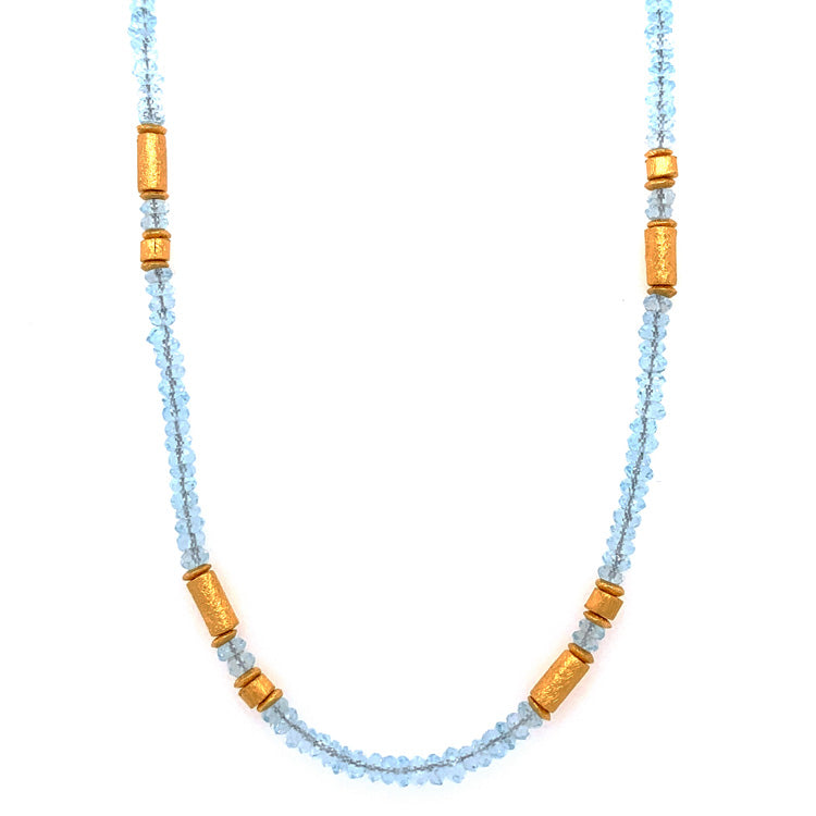 Blue Topaz Rondelle & Gold Vermeil Necklace