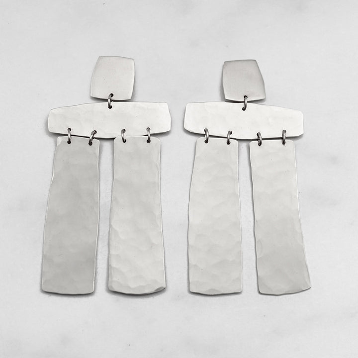 Stonehenge Earrings in Silver