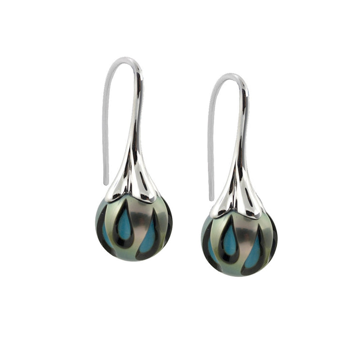 Hand Carved Tahitian Pearl with Turquoise Earrings by Chi Galatea