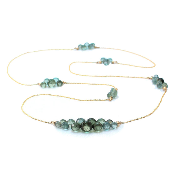 Caviar Moss Aquamarine Eternity Necklace