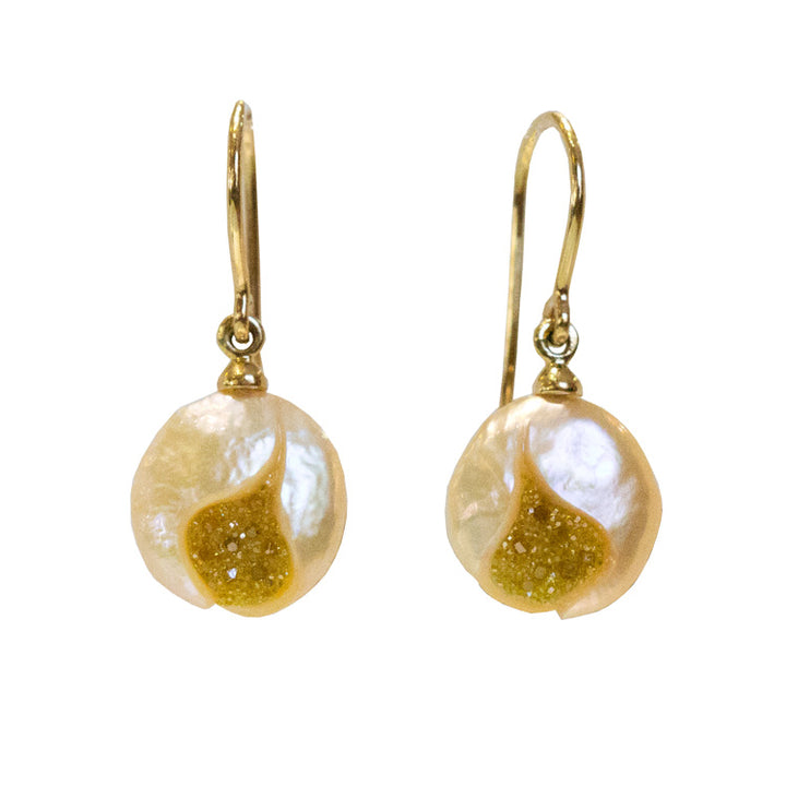 "Galatea ""Galaxia"" Blush Pearl Drop Earrings"