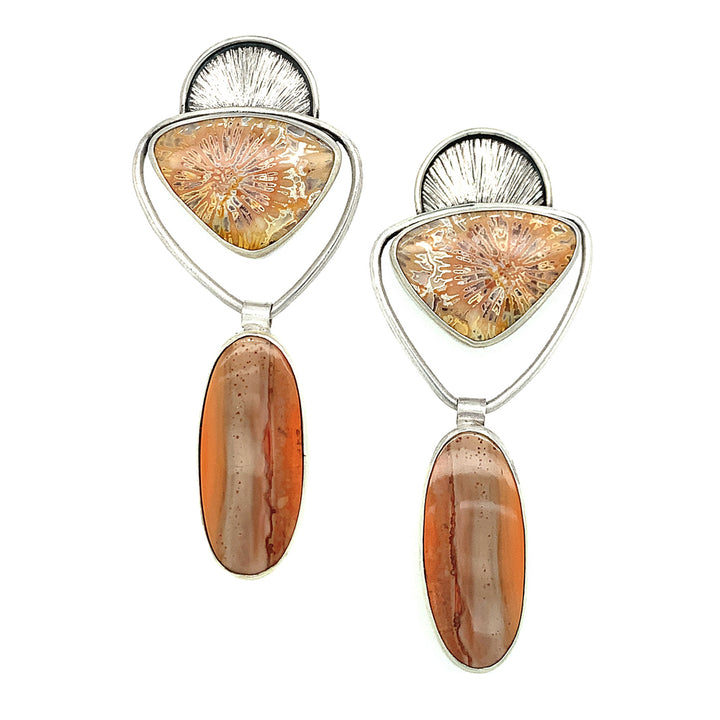 Silver Fossilized Coral and Jasper Earrings