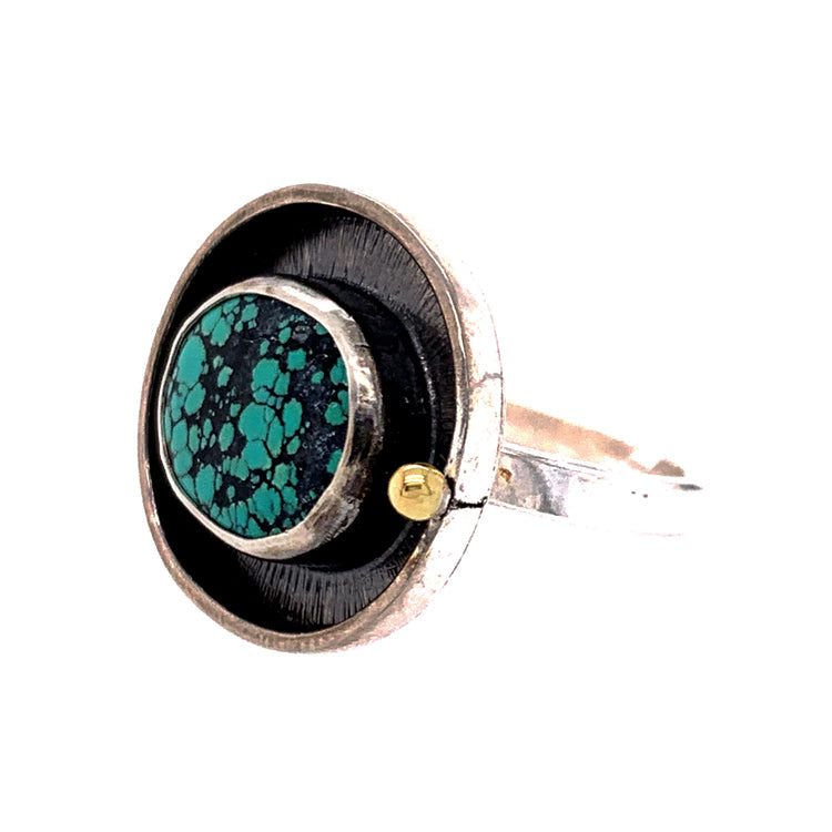 Oval Hubei Turquoise Ring with Halo