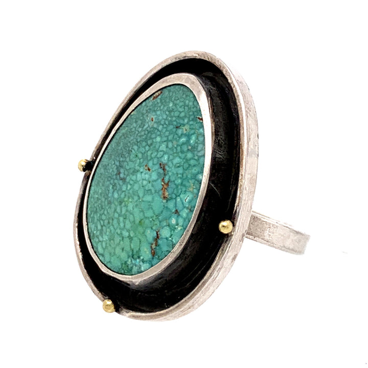 Robin egg blue Hubei turquoise and yellow gold bead sterling silver ring by Ciara Easterling