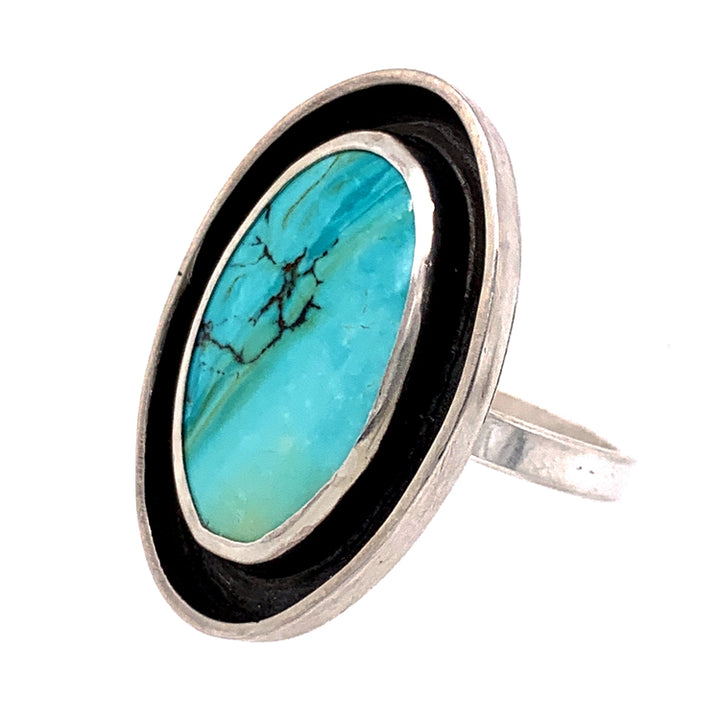 Oval Light Blue Hubei Turquoise Ring