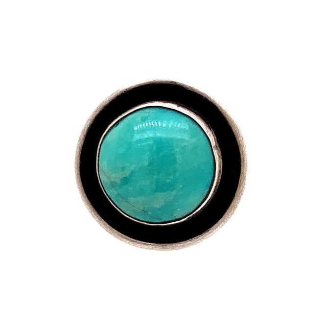 Round Vibrant Teal Hubei Turquoise Ring