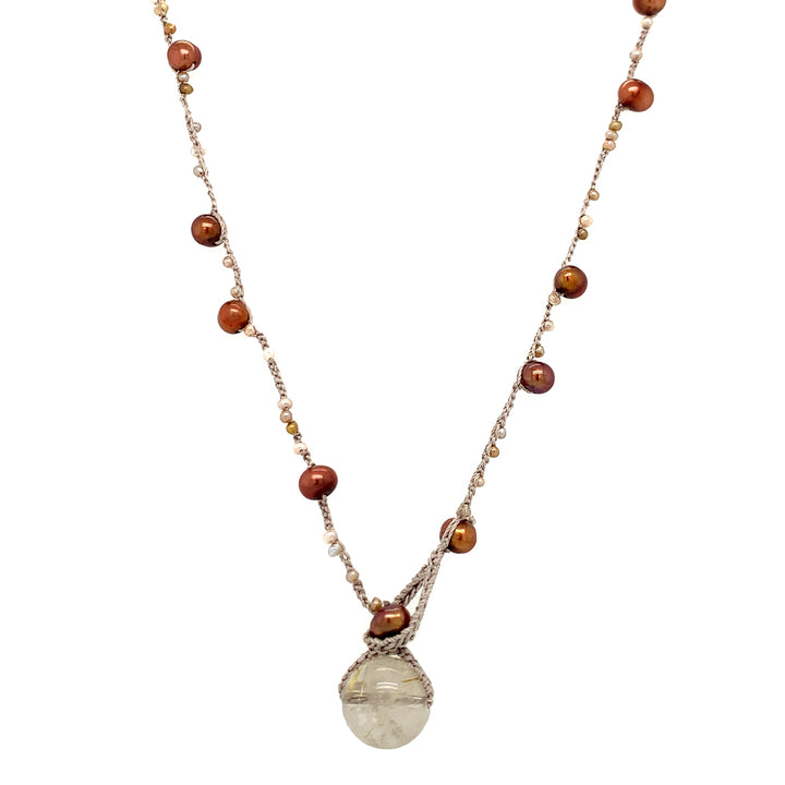 "•	18"" necklace: 5-5.5mm potato-shaped copper freshwater pearl, 2.25mm beige palette freshwater seed pearls crocheted on silk, 13mm rutilated quartz."