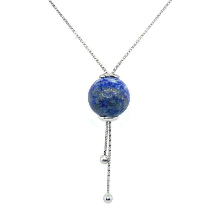 "Sphere Lapis Necklace on a 40"" Sterling silver chain."