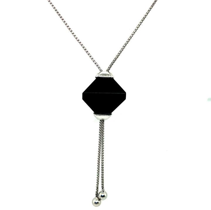 Twin Pyramid Black Jasper Necklace