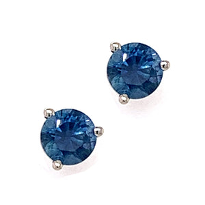 Deep Blue Montana Sapphire Martini Stud Earrings