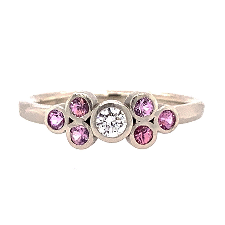 Rebecca Overmann Pink Montana Sapphire & Diamond Cluster Ring