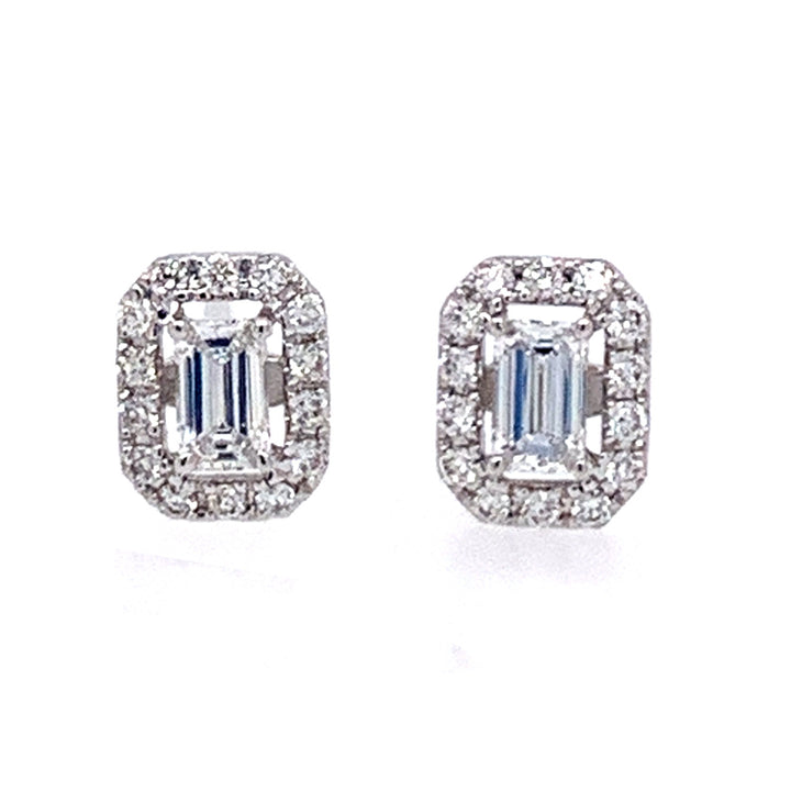 Emerald-Cut Diamond Halo Stud Earrings