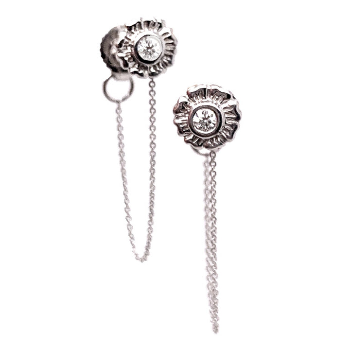 White Gold Flora Diamond Earrings