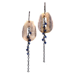 Deer Antler Earrings with Montana Sapphires