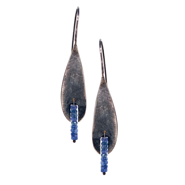 Hammered Drop Earrings with Montana Sapphire Rondelles