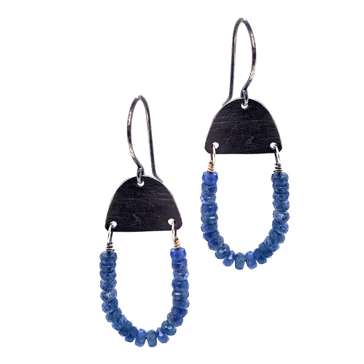 U-Shaped Drop Earrings with Montana Sapphire Rondelles