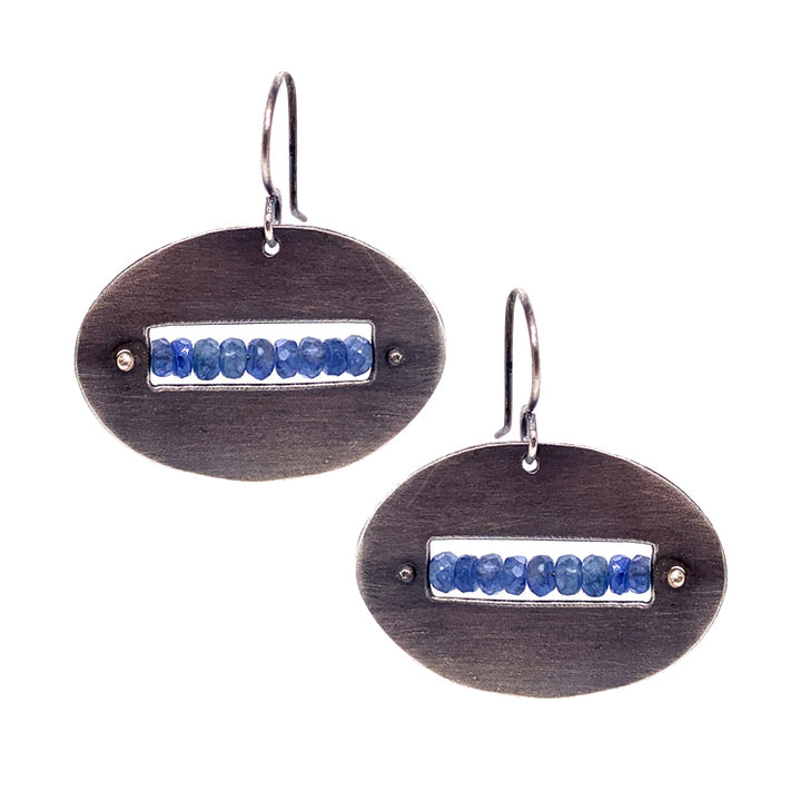 East-to-West Oval Drop Earrings with Montana Sapphire Rondelles