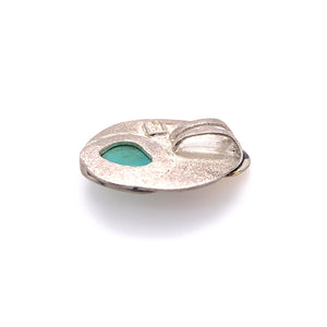 Sterling silver backing of turquoise pendant | Eva Stone